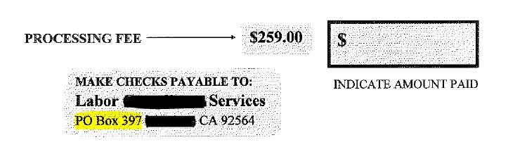 Labor Compliance Services. Processing Fee. PO BOX no return address.