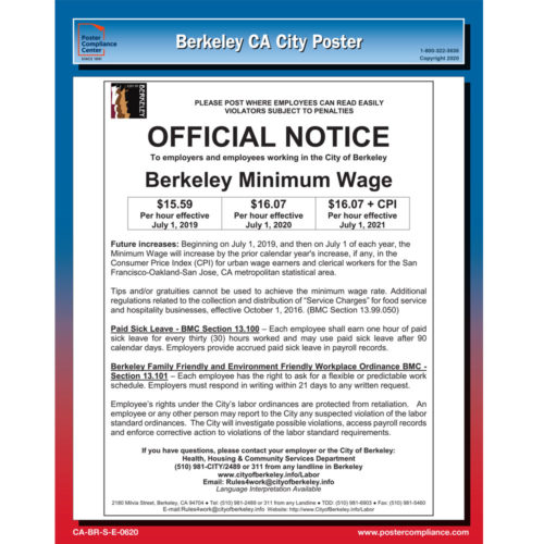 Berkeley, California Labor Law Notice