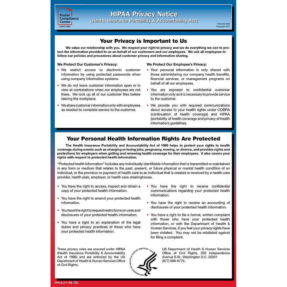 hipaa privacy notice poster compliance center. Black Bedroom Furniture Sets. Home Design Ideas