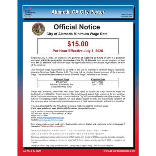 Alameda, CA City Labor Law Poster