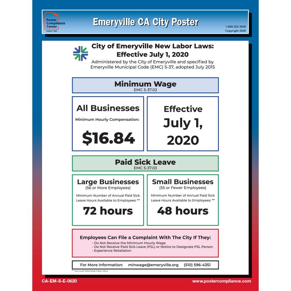 Emeryville, CA Labor law poster