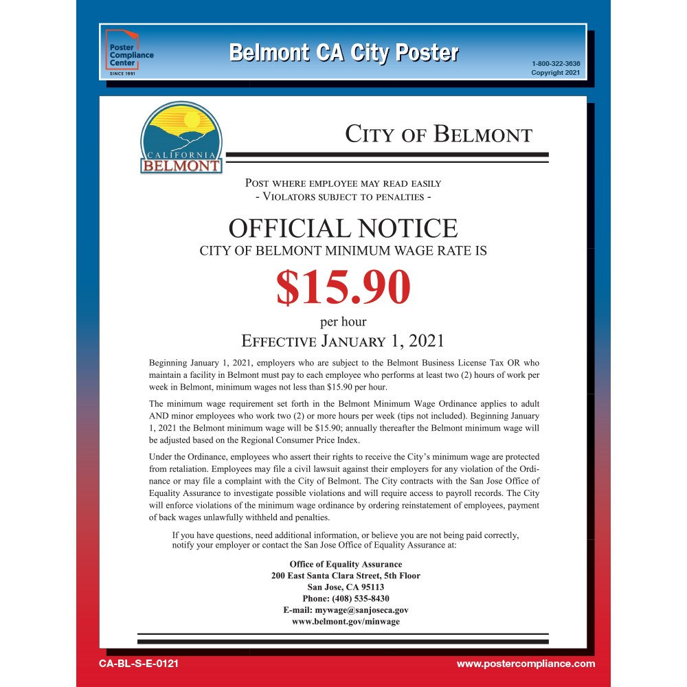 Belmont, CA Minimum Wage Notice