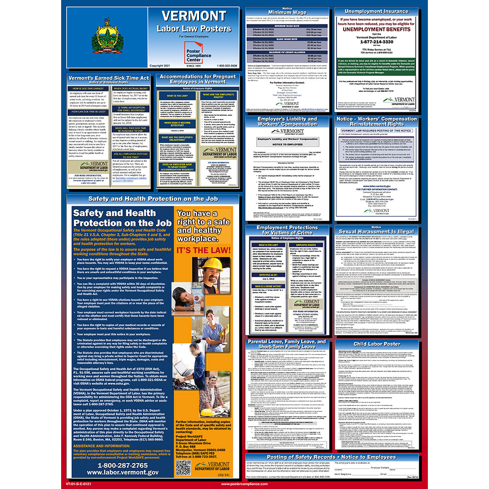Vermont State Labor Law Poster