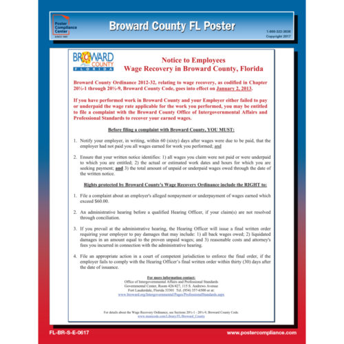 Broward County Florida Labor Law Poster